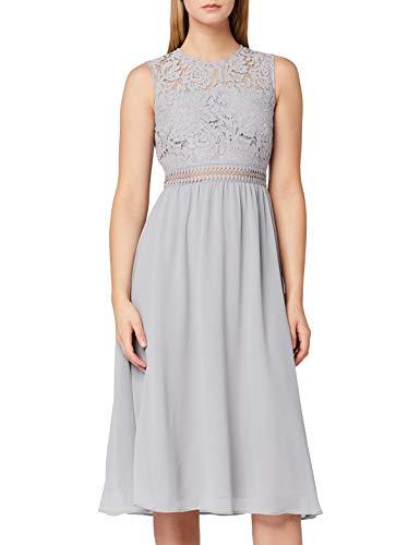 Marca Amazon - TRUTH & FABLE Vestido Midi Evasé de Encaje Mujer, Gris (Grey), 46, Label: XXL