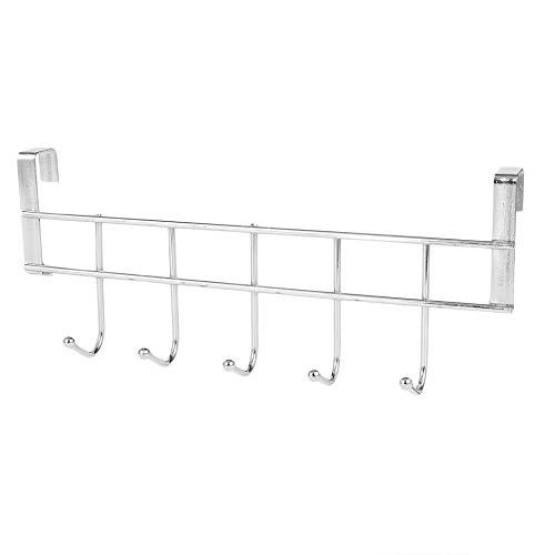 1 pieza 5 ganchos de acero inoxidable ganchos para ropa, puerta de baño, gabinete de cocina, dormitorio, toalla, organizador para colgar (plata)