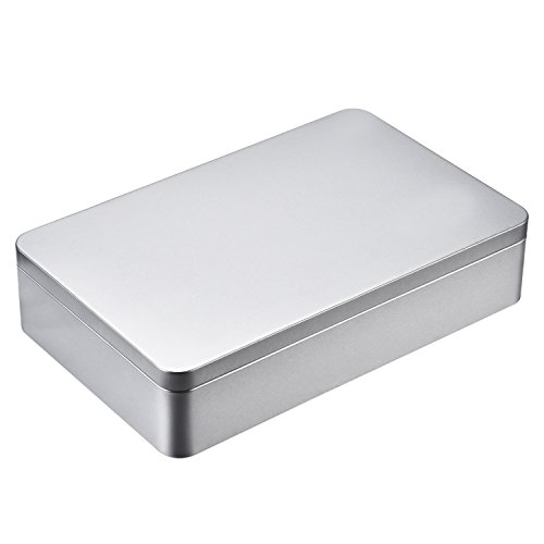 Hotop 8.5 by 5.3 by 1.9 Inch Silver Rectangular Empty Tin Box Containers, Gift, Jewelery and Storage Tin Kit, Home Organizer