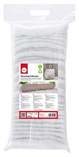 Rayher 30220000 ouate polyester recyclée sachet de 500g ouate de rembourrage très soyeuse pour des coussins mousse de rembourrage en couches pour créer des décos de Noël blanc