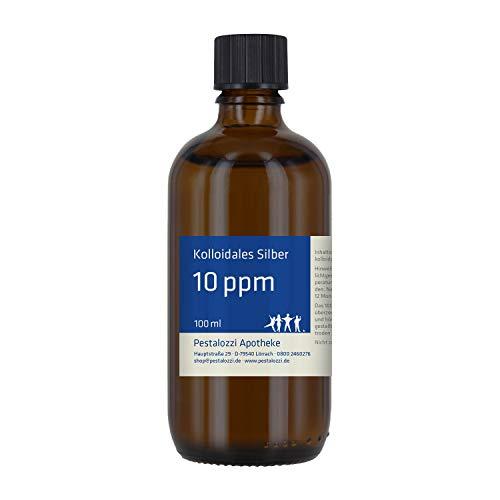 Kolloidales Silber 10ppm (100 ml) aus Apotheken-Herstellung, 100 % natürliches, kolloidales Silberwasser, ohne chemische Zusatzstoffe, Inhalt: 100 ml