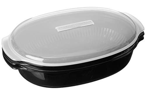 "Whirlpool W10660052 Universal Microwave Steamer, 13 3/4"" x 8 1/2"" x 5 1/4"", Black"