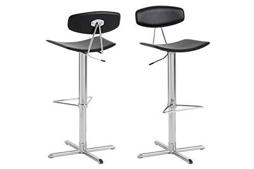 AC Design Furniture Caroline tabouret de bar, Simili Cuir, Noir, L: 42 x l: 43 x H: 103 cm