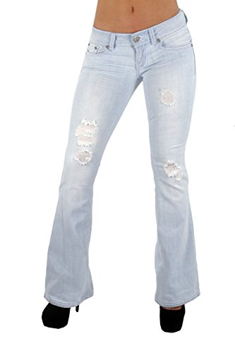 The Sexy Flare Bootleg Ripped Premium Bootcut Women Jeans in Washed Light Blue Size 7