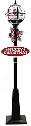 Fraser Hill Farm Black Let Series 69 Globe Lamp Post Santa Scene, 2 Signs, Cascading Snow, and Christmas Carols, 69 Inch