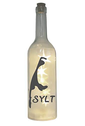 WB wohn trends LED-Flasche mit Motiv, Insel Sylt Silhouette, grau, 29cm, Flaschen-Licht Lampe mit Text Spruch
