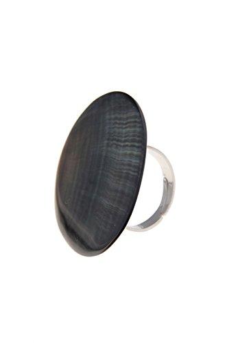 Leslii Damenring Blacklip-Muschel Muschel-Ring Perlmutt-Schmuck Modeschmuck-Ring Statement Größe verstellbar Grau Silber