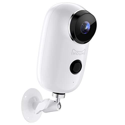 Cámara Vigilancia Exterior Inalámbrica WiFi con Batería Recargable,IHOUMI Cámara IP 1080P con Visión Nocturna Impermeable, Detección de Movimiento PIR,Audio de 2 Vias,Notificar la función de excepción