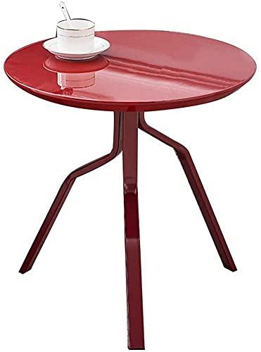 ZGYZ Muebles Modernos Mesa Auxiliar de Metal Mini Mesa de Centro Redonda Mesa de Oficina Simple Laca de Alto Brillo Blanco/Rojo/Amarillo Multiusos, Rojo