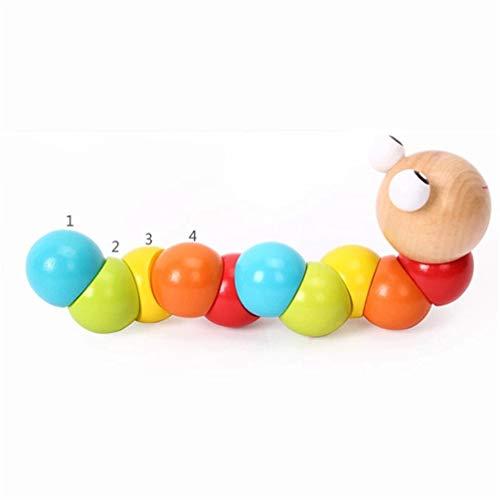 LoveAloe Caterpillar Holzspielzeug Frühförderung Kinder Intellektuelle Entwicklungswerkzeuge für Kleinkinder Jungen und Mädchen Spielzeug