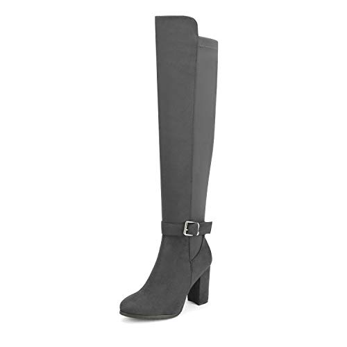 DREAM PAIRS Women's Light Grey Chunky Block Heel Stretchy Over The Knee Boots Size 5.5 B(M) US...