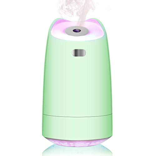 LoiStu USB Mini Humidifier, 280ml Portable Humidifier, 7-Color LED Night Light, Ultra-quiet,Automatic Shut-Off, for Home, Bedroom, Office, Baby room, Car (green)
