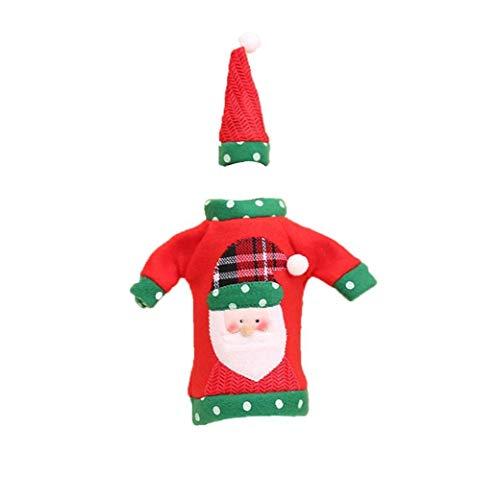 Weihnachten Non-Woven-Wein-Abdeckung Flasche, mit Santa Claus tragbaren, wiederverwendbarer Non-Woven-Wein-Tasche mit Hut für Abendessen-Tabelle Ornament 1 Pc