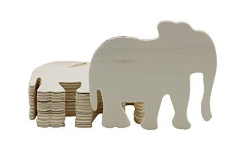 Creative Hobbies 4 Inch Unfinished Wooden Elephant Shapes, Pack of 12,...