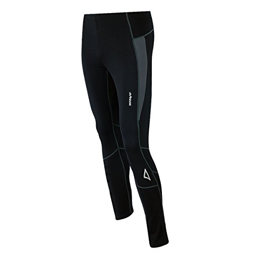 Airtracks Thermo FUNKTIONS Laufhose PRO-T/Running Tight/Thermohose/Reflektoren - LANG - schwarz-grau - XL