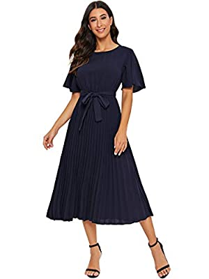 Milumia Women's Elegant Pleated Belted Solid Long A Line Dress