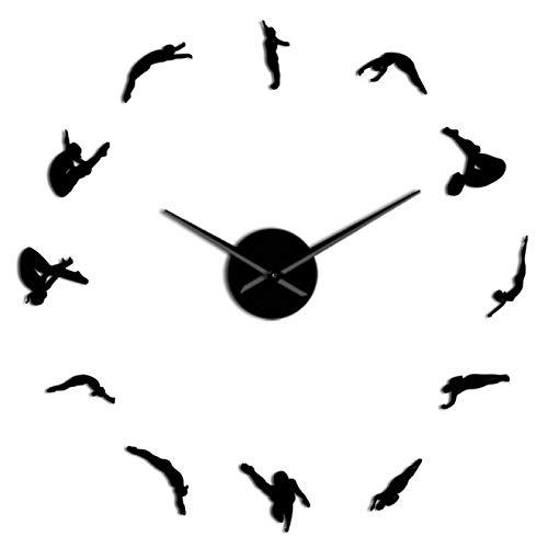 xinxin Reloj de Pared Mujer Moderna Buceo Deporte DIY Acrílico 3D Reloj de Pared Reloj de Cuarzo Reloj con Pilas Reloj Efecto Espejo Regalo para Atleta para Oficina en casa Escuela