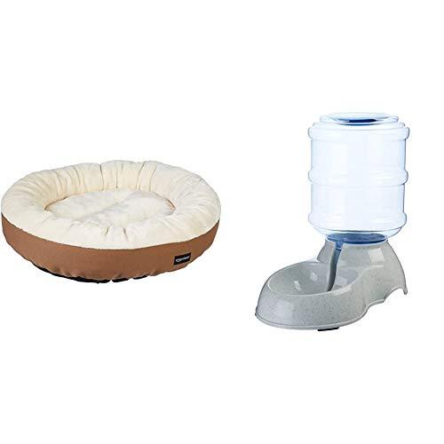 Amazon Basics – Cama Redonda para Mascotas + Dispensador de Agua, Pequeño