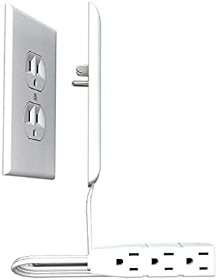 Sleek Socket Ultra-Thin Electrical Outlet Cover   Hides Ugly & Unsafe Plugs & Cords   Outlet Cover with 3 Outlet Power Strip   UL/CSA Safety Certified