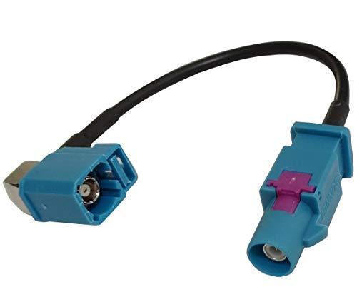 Aerzetix verlengkabel 10 cm FAKRA-Z bus marineblauw 90 graden hoek/Fakra-Z stekker voor autoradio GPS GSM RAL5021 C43442