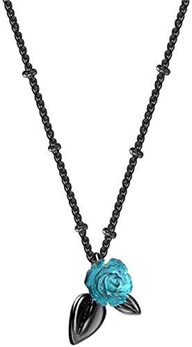Yiffshunl Collares Collar con Colgante de Flor de Rosa Azul Chapado en Negro Antiguo Retro Boho Declaración Cadena de eslabones Suéter Gargantillas para Mujer