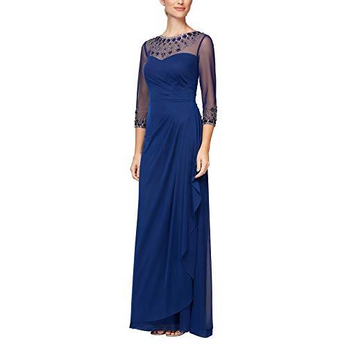 Alex Evenings Women's Long A-Line Sweetheart Neck Dress (Petite and Regular Sizes), Royal Beaded, 10 (Apparel)