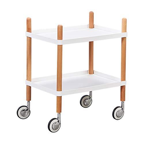 Tables basses Chariot à thé Petite Table Mobile Petite Table Moderne Simple en Bois Massif Meuble de canapé (Color : Blanc, Size : 50 * 35 * 57cm)