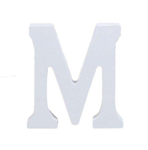 Décorations Fablcrew en forme de lettres de l'alphabet - En bois - Style moderne - Pour décoration intérieure, d'une chambre, pour un mariage - Blanc, Bois dense, m, 8*7*1.2cm