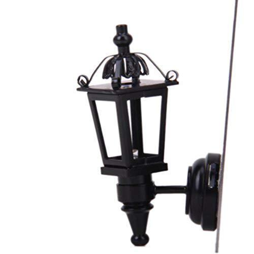 EXCEART 1 Pc 1:12 Maßstab Diy Puppenhaus Lampe Miniatur Vintage Lampe Puppenhaus Wandleuchte für Puppenhaus Mikro Landschaftsdekorationen (Schwarz)