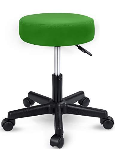 TRESKO Taburete con Ruedas Taburete Giratorio cosmético de Trabajo Consulta, Regulable en Altura, Giratorio en 360°, con Asiento Acolchado de 10 cm y 8 Variantes de Colores (Verde)