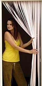 Robuste Fensterblende, Fliegenschutz, Streifenblende, Türblende - ROSA UND WEISS (90cm breit) - Komplett mit Schraubhaken für Holzrahmen