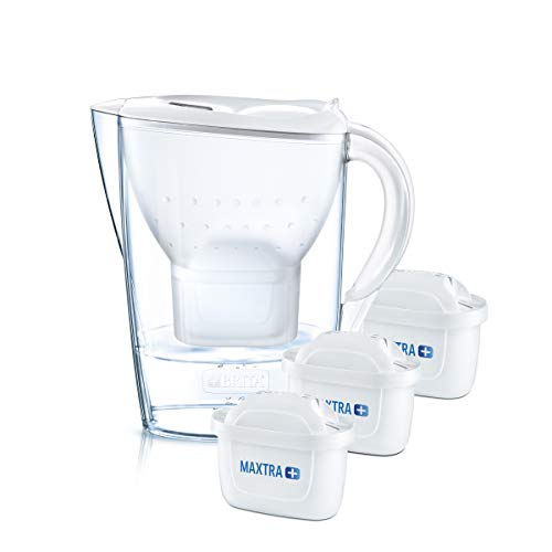 BRITA Wasserfilter Marella weiß inkl. 3 MAXTRA+ Filterkartuschen – BRITA Filter Starterpaket zur Reduzierung von Kalk, Chlor, Blei, Kupfer & geschmacksstörenden Stoffen im Wasser