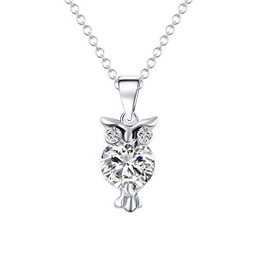 ITVIP Beautiful Owl Zirconia Sweater Chain Pendant American Accessories Female Birthday Gift - Silver -