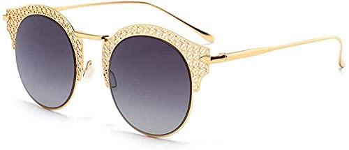 Gafas de sol UV400 Negro Oro Moda Moda Color Película Hoja Gafas De Sol Señoras Viaje Playa Driver Espejo, Gold,