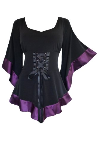 Dare to Wear Treasure Corset Top: Victorian Gothic Medieval Women's Plus Size Courtly Tunic for Everyday Halloween Cosplay Festivals, Plum 3X