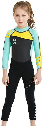 SAIL & DIVE Kinder Neopreneanzug Badeanzug Mädchen Schwimmanzug Einteiler Unisex 2.5MM Tauchanzug UV-Schutz Langarm Wetsuit für Wassersport-Grün-5-6 Jahre Alt