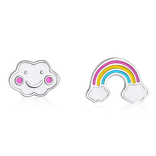 DFDLNL Earings Holiday Rainbow Cloud Aretes asimétricos con Pendiente para niñas