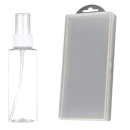 iSpchen Boîte Vide de Rangement en Plastique Transparent pour Faux Ongles Nail Art Manucure Outils Accessoires + 100ml Liquide Flacon pulvérisateur