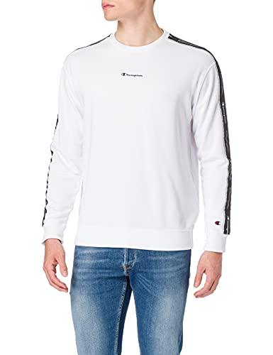Champion Seasonal American Tape Crewneck Sweatshirt Camisa de Entrenamiento, White, XL para Hombre