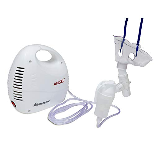 Romsons Angel Nebulizer Machine, Compact & Lightweight Compressor Nebulizer for Kids and Adult with Mask (White)