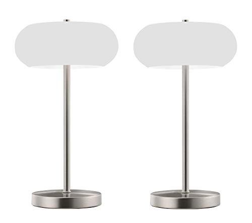 TRANGO 2er Pack Stufenlos dimmbar LED Schreibtischlampe Nickel matt, satinierte Glasschirm Tischleuchte, Nachttisch & Fensterbank Lampe TG2017-92/2