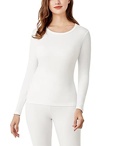 LAPASA Camiseta Térmica para Mujer -Brushed Back Fabric Technique- L15 (Blanco (Una Camiseta Sin Pantalón), XL)