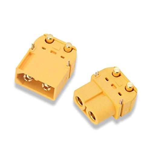 Xyhcs 2pcs 10pcs Amass XT60PW XT60PW latón plátano del Oro Bala Hombre Mujer Conectores de Enchufe de conexión Piezas for RC Lipo Junta de PCB de la batería (Color : 2Pair)
