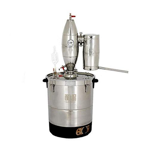 hzexun Alambique Destilación Kit Automático de vinificación Alcohol Destilador para Whiskey Brandy Esencial Aceite con Termómetro Acero Inoxidable (50L)