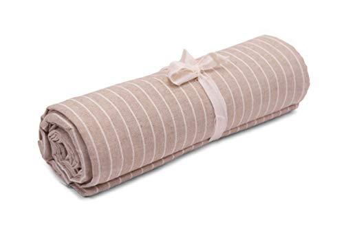HomeLife – Foulard Multiusos – Tela Decorativa Cubre sofá con diseño de Rayas, 260x280, fabricación Italiana – Granfoulard de algodón – Cubrecama Doble (Cama de Matrimonio) – Beige