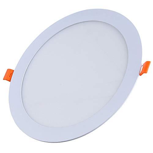 FactorLED ¡OFERTA! Downlight LED OSRAM 20W Slim, Placa Circular Empotrable, Panel Redondo Extraplano 2000 lúmenes, Corte techo Φ205mm, [Clase de eficiencia energética A++] (Luz Fría (6000K))