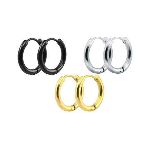N/U PULABO3 Pairs Stainless Steel Black Silver Gold Small Hoop Earrings for Men Women, 10mm 12mm 14mm 10mm Sturdy and Cost-Effective