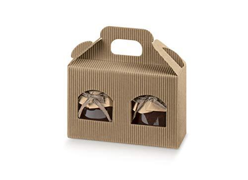 5 x Scatola in Cartone con Maniglia per 2 vasetti in Vetro 35287 170 x 80 x 90 mm