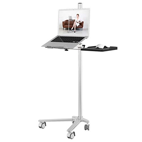 AGZ Mobile Rolling Laptop Stand Bedside Desk Height Adjustable Overbed Table Ergonomic Aluminum Laptop Desk for Bed Sofa Side Table, Laptop Holder Compatible with All Laptops (Tall)