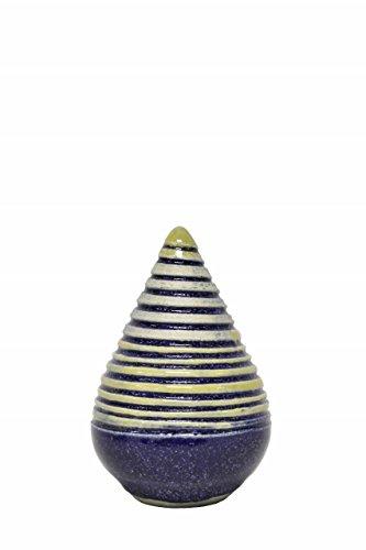 Gartendekoration ROSENKUGEL Zapfen Geringelt Keramik Klein handgearbeitet Blau Kunstkeramik FROSTFEST